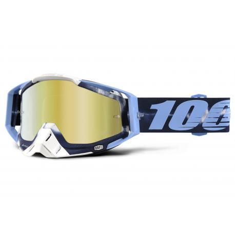 Lunettes 100% Racecraft TIE DYE Bleu Ecran Mirror Or